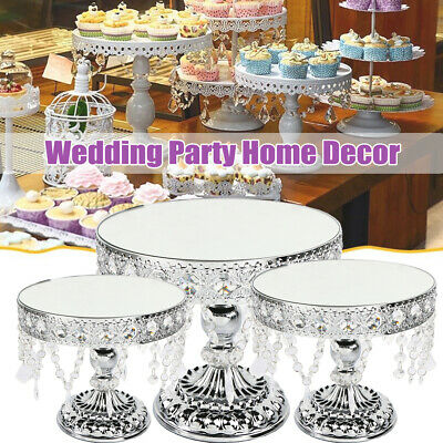 Crystal Silver Round Cake Stand Display Dessert Holder Wedding Party XMAS Decor