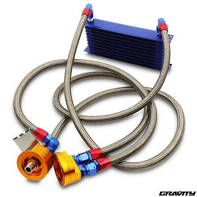 10 Row An10 Blue Alloy Motorsport Custom Diy Sport Car Oil Cooler Relocation Kit