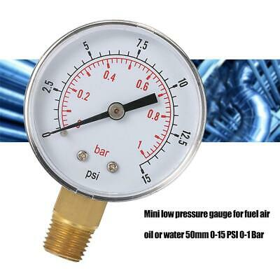 Mini Low Pressure Gauge For Fuel Air Oil Or Water 50mm 0-15 PSI 0-1 Bar V9 Newes