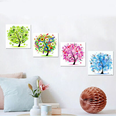 Four Season Counted Cross Stitch Diy Kit Embroidery Set Colorful Tree Home Déco