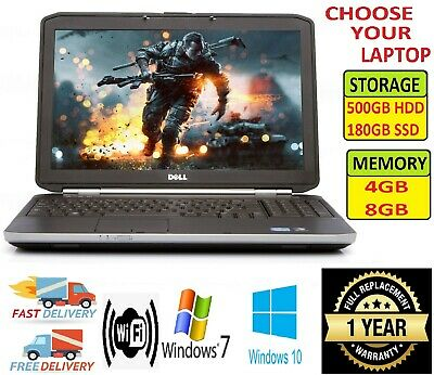 "CHEAP Dell Latitude Intel Core i3 Laptop 15.6"" 8GB 180GB SSD Win 7&10 DVD HDMI"
