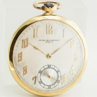 Patek Philippe 18K Gold Pocket Watch W/Extract from the Archives Fast F/S(1885N)