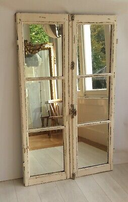 Stunning Large Vintage Antique French Painted Mirrored Chateau Door