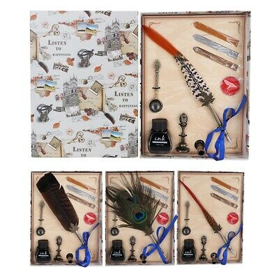 Peacock Feather Quill Dip Pen Ink Set Handle with Gift Box Handicraft NEW Retro
