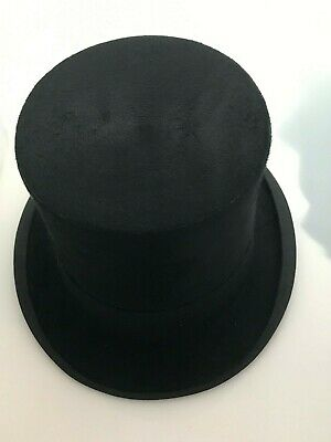 """Vintage Top Hat by Christys London size 6 5/8"""" pre 1945 initials 'JH"""" + scarf"""