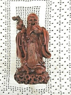 Oriental Ornate Carved Figurine Heavy Resin Man with Staff Unusual