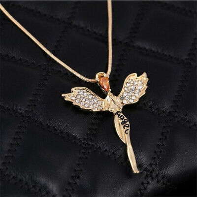 Women Crystal Fairy Angel Wing Pendant Gold Silver Chain Sweater Necklace Gift
