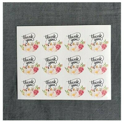 48 Pcs Round Blossom Garland Thank You Stickers Seal the envelope and gift box