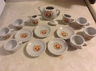 Miniature Tea Set Porcelain 15 Pieces Mini Bear Print Dinner Set Dollhouse