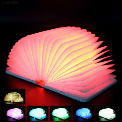 A713 BB04 Wooden Foldable LED Book Lamp Rechargeable Multi-Color Night Light