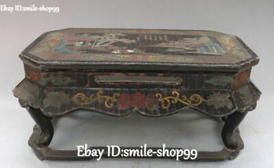 Chinese Wood lacquerware Horse Tree Man Lady Flower Mountain Desk Table Statue