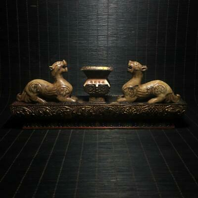 """10"""" Chinese old Antique Handmade bronze Lacquer ware Pen holder statue"""