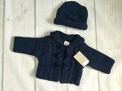 Navy Knitted Cable Pom Pom Coat And Hat By Fruit De Ma Passion