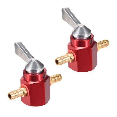 1/4 Inch CNC Gas Inline Petrol On-Off Fuel Tap Petcock Valve Switch Red 2pcs