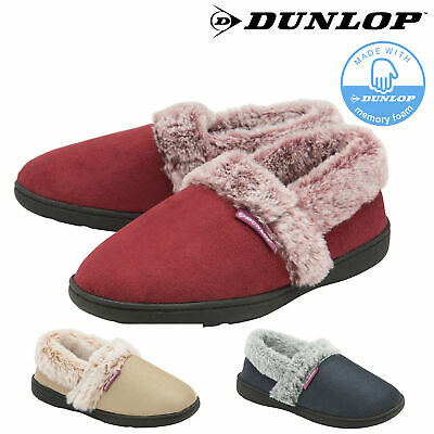 Dunlop Ladies Womens Slippers Faux Fur Lined Cuff Comfy Memory Foam Sizes 3-8