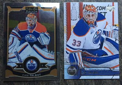 2 Cam Talbot Cards 2015-16 OPC Platinum #113 & 2016-17 Upper Deck #74 - Oilers