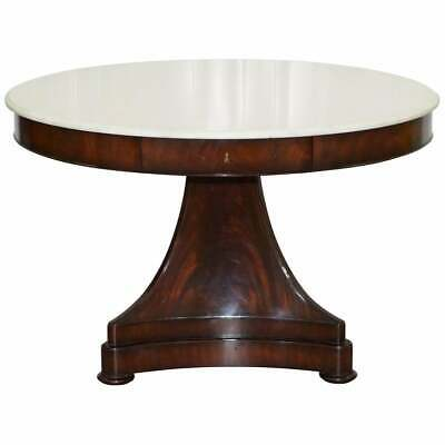 Rare Rrp £12,000 Ralph Lauren New York American Mahogany Centre Table Marble Top