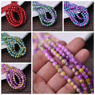 50pcs 6mm Round Glass Loose Spacer Beads Charms DIY Jewelry Making Findings