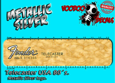 Fender Telecaster 80´s USA (Metallic SILVER Logo) Headstock Waterslide Decal