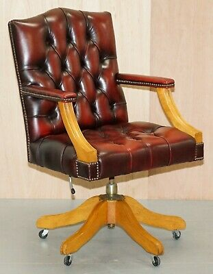 Lovely Vintage Oxblood Leather Chesterfield Gainsborough Captains Office Chair