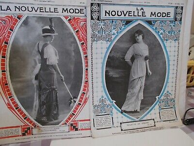 LA NOUVELLE MODE Antiquarian French fashion magazines (2) 1912  and 1913