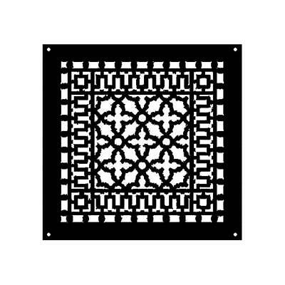 Reggio Registers Scroll S 14 in.x14 in. Cast Iron Grille Black w/Mounting Holes