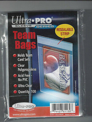 100 Ultra Pro Team Bags 1 pack Resealable Strip  New Acid Free No PVC