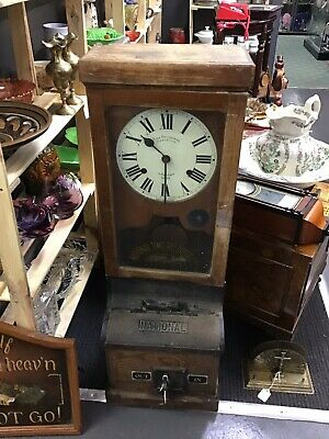 Antique National Time Recording Clocking In Clock With Key