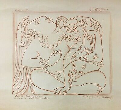 1954 Raul Anguiano Red Conté Drawing of Mayan Glyph from Palenque, Mexico