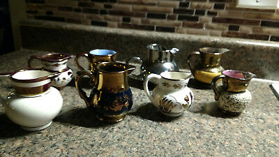 Vintage Lot 9 Pitcher Luster Ware Creamer Pitchers Small Copper Bronze Antique