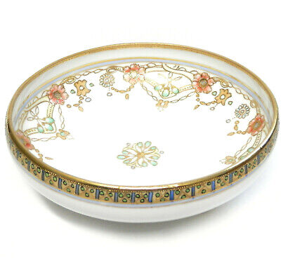 """Antique RC Nippon Ball Footed Bowl Gilt & Moriage Enamel Accents 6"""" circa 1910"""