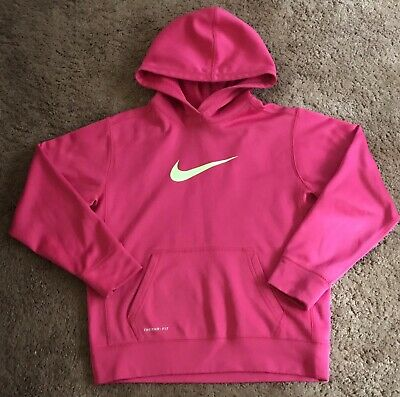 Girls Nike Therma Pullover Hoodie Neon Pink Iridescent Logo Dri-Fit New
