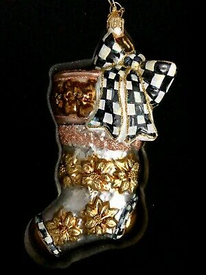 MacKenzie Childs Silver Lining Stocking Glass Ornament Christmas Ornament NEW
