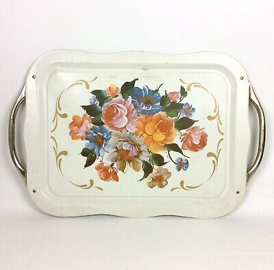 Tole Toleware Hand Painted Floral Serving Tray With Handles Shabby Cottage Vtg