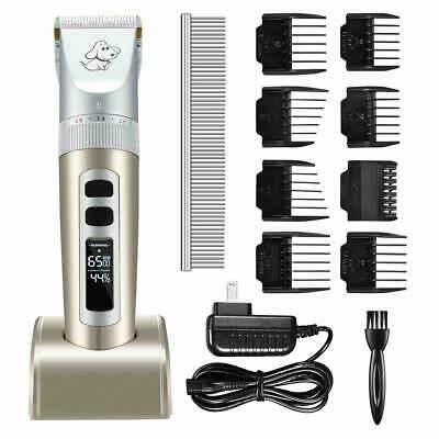 Pet Clippers Rechargeable Cordless Electric Dog Cat Shaver Grooming LED 8 Combs
