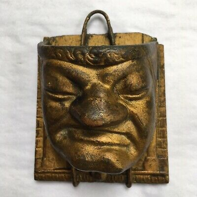 "Vintage Metal Wall Pocket Oriental Chinese Face 4"" People"
