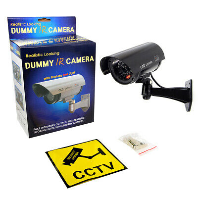 Black Dummy Fake CCTV Security Camera Outdoor with LED Light IR Surveillance