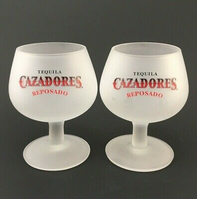 Cazadores Reposado Tequila Glasses Stemmed Frosted Shot Snifter Glass - Set of 2
