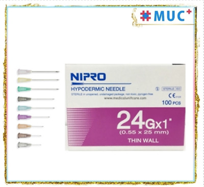 "100 Pcs NIPRO Hypodermic Dispensing Needle 24 g x 1"" Thin Wall 0.55 x 25 mm"