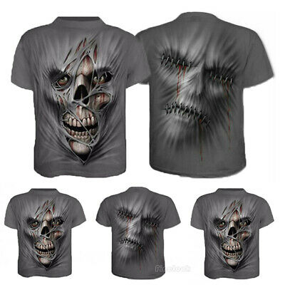 Skull Face 3D Print Mens Casual Crew Neck T-Shirt Short Sleeve Graphic Tee Tops
