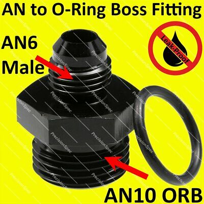 AN6 6AN Male Flare to AN10 10AN ORB O-ring Boss Aluminium Fitting Adapter Black