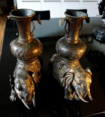 Stunning Antique Bronze Gilt Pair Of Elephants With Vases Possibly Qing Dynasty