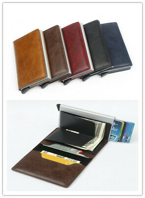 Auto Credit Card Holder Leather RFID Blocking Small Metal Wallet Money Clip SALE