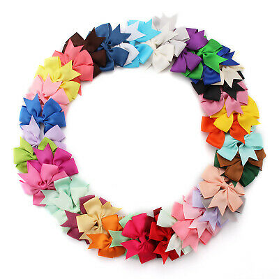 40PCS Handmade Bow Hair Clip Alligator Clips Ribbon Kids Girls Sides Accessories