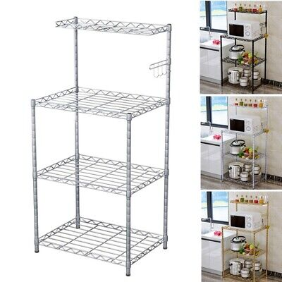 1Pc Kitchen Trolley 4 Tiers Microwave Ovens Shelf Dishes Storage Household Cart