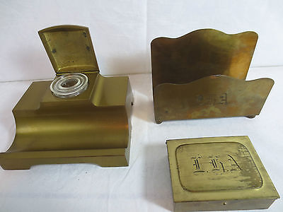 Antique 3 BRASS GES GESCH STAMP & WRITING Items & LETTER HOLDER & INKWELL Europe