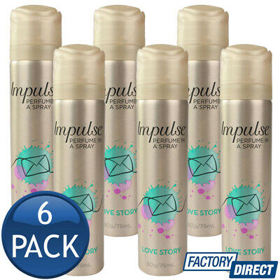 6 x IMPULSE BODY SPRAY LADIES WOMEN MIST PERFUME FRAGRANCE LOVE STORY 50g/75mL