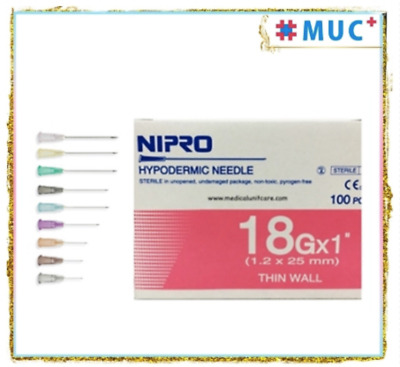 "100 Pcs NIPRO Hypodermic Dispensing Needle 18 g x 1"" Thin Wall 1.2 x 25 mm"