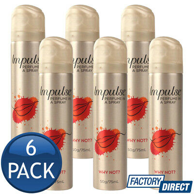 6 x IMPULSE BODY SPRAY LADIES WOMEN MIST PERFUME FRAGRANCE WHY NOT BULK 57g/75mL