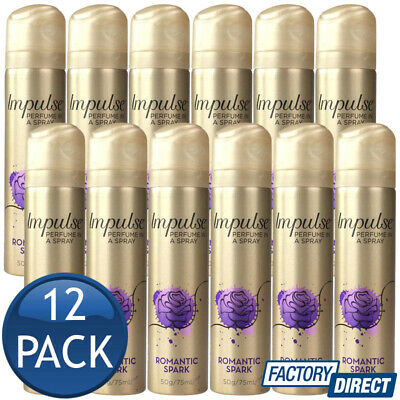 12 x IMPULSE BODY SPRAY LADIES WOMEN PERFUME FRAGRANCE ROMANTIC SPARK 57g/75mL